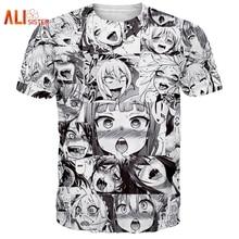 Alisister Ahegao Print T Shirt Men Women Harajuku Face Red Woman T Shirts Funny Shy Girl Sexy Tops Summer Cute Clothing Dropship