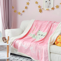 Pink Cartoon Pattern Thick Double Layer Flannel Blanket Coral Fleece Bedspread Adult Multi Size Bed Sheets Plaid Blankets 2 Size