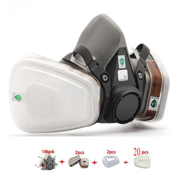 6200 Respirador Máscara De Gas 7 Trajes de Polvo Filtro de Polvo Spray de Pintura Media mascarilla Anti-Vaho Máscaras Neblina de Plaguicidas formaldehído Partículas