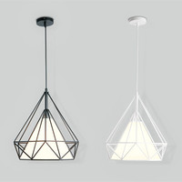 Modern pendant light iron retro indoor lighting diamond loft vintage lamp metal cage LED bulb classical decoration light fixture