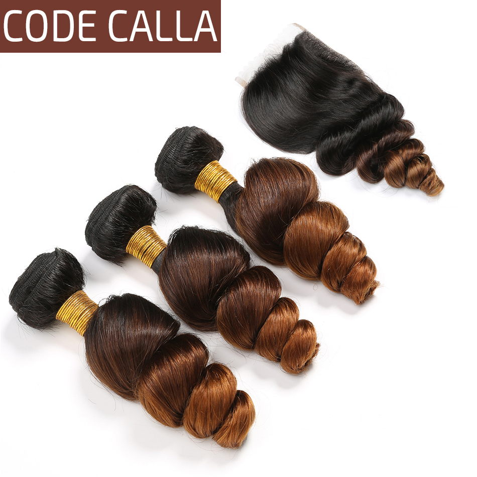 Code Calla Ombre Color Loose Wave Bundles With 4*4 Lace Closure Brazilian Raw Virgin Human Hair Unprocessed Weave Weft Extension