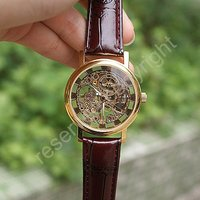 Golden Tone Hollow Skeleton Mens Lady Women Wind Up Mechanical Analog Wrist Watch Brown Leather Band