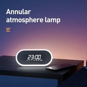 Image 3 - Baseus yüksek kalite Bluetooth hoparlör ile çalar saat fonksiyonu bas ses taşınabilir müzik çalar kablosuz hoparlör halka şeklindeki lamba