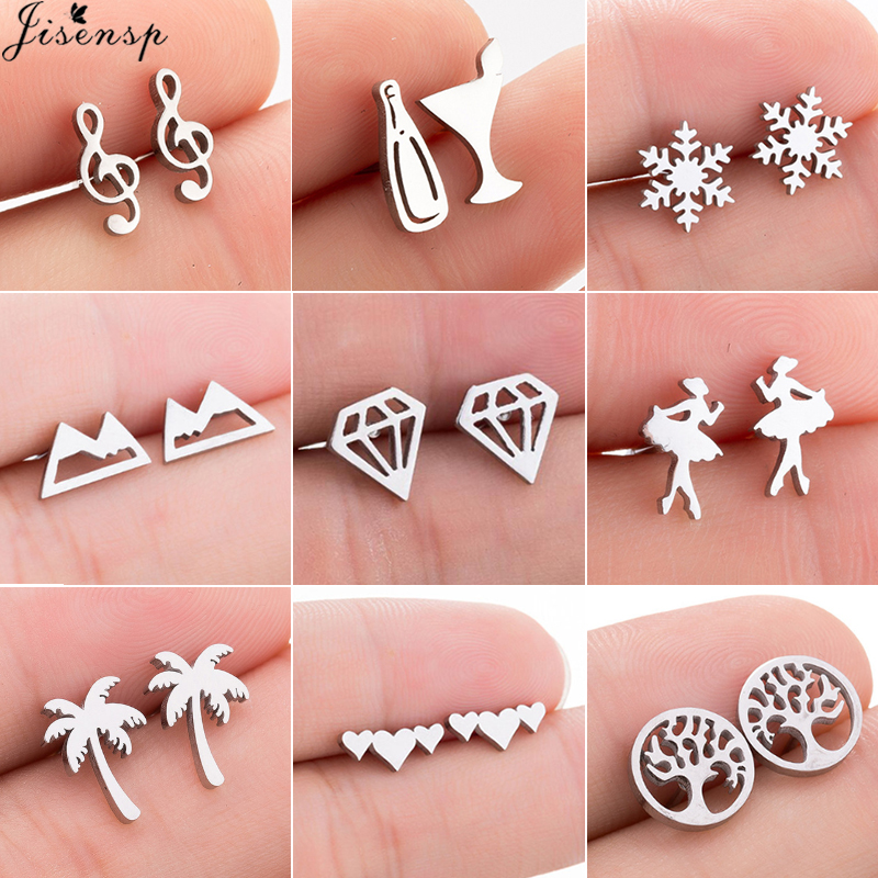 Jisensp Stainless Steel Ballet Earrings For Women Mickey Earing Fashion Tree Of Life Stud Earring Girls Jewelry Kids Accessories