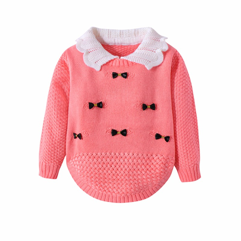 Cotton Girls Sweaters Solid Long Sleeve Clothes Knit Pullover Outerwear With Bows Warm Children Top Autumn Winter Kids Sweater (2)
