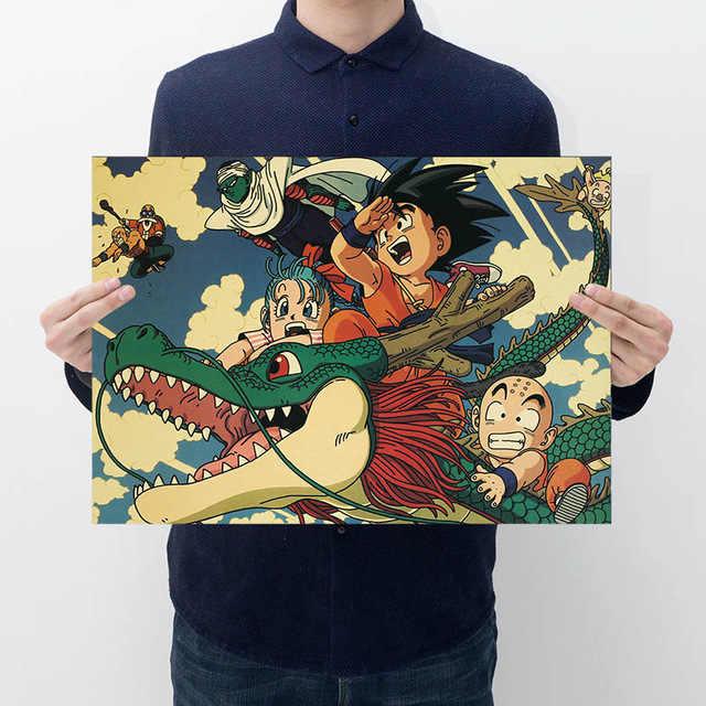 Japão anime dragão ballz figura de ação cartaz goku vintage retro kraft impressão adesivo barra cartazes decoração dragon ball brinquedos