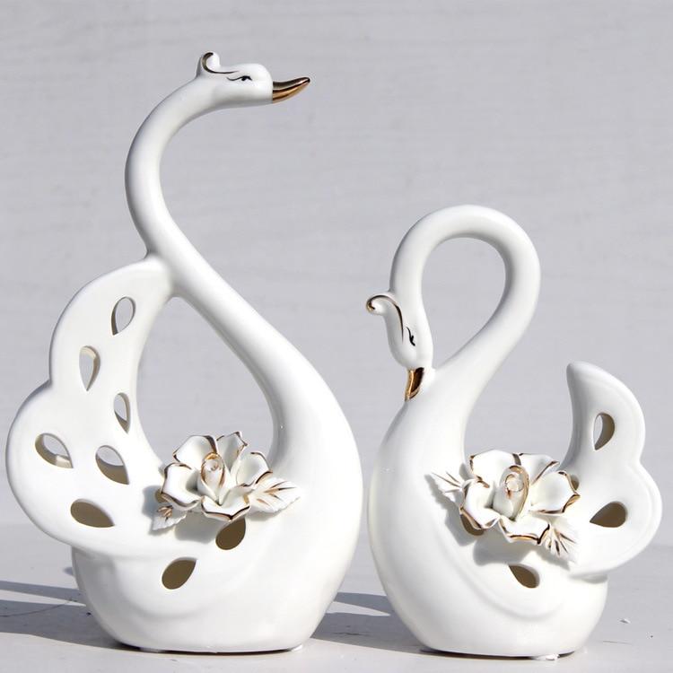 White Fashion Swan Ceramic Handicraft Decoration Creative Home High-end Gifts