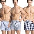 BXMAN Woven Cotton  Sexy Men Boxer Shorts Men's Underwear Classic Underpants Men Undergarment Plaid Pattern 3 Pieces/Lot