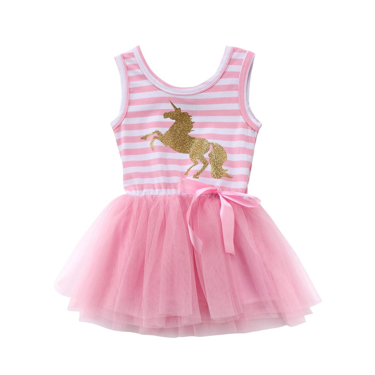 2018 Pretty Little Girl Baby Unicorn Dress Summer Sleeveless Striped Pink Mesh Tulle Party Wedding Tutu Summer Dress