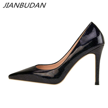 JIANBUDAN sexy Womens professional high heels High quality pu leather banquet pumps 10cm Pointed Toe female office shoes