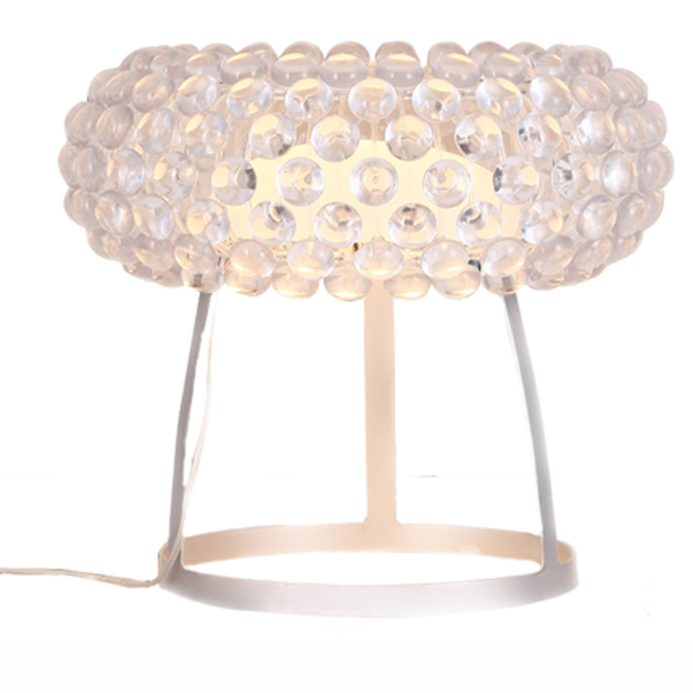 Modern Acrylic bead of sweat Bedroom Table Light Bedsides Semi Circle Glass Shade Desk Lamp Study Room Decreation Table Lighting