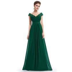 Robe De Soiree 2019 EB23368 элегантное ТРАПЕЦИЕВИДНОЕ вечернее платье с v-образным вырезом и аппликацией длинное красное торжественное свадебное плать...