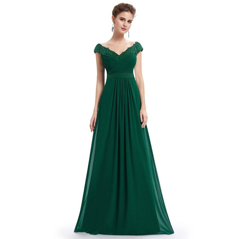 Robe De soirée 2019 EB23368 élégante ligne A col en V Appliques Robe De soirée formelle longue rouge formelle robes De mariée grande taille