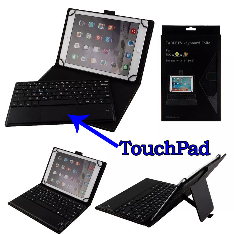 3in1 Dechatable Bluetooth Keyboard w/ Touchpad & PU Leather Case Cover for Apple iPad Pro 9.7 2016 Release Tablet (Wake / Sleep) universal dechatable bluetooth keyboard w touchpad