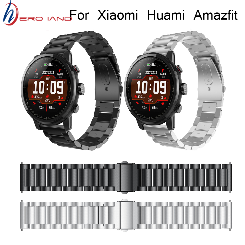 For Original Xiaomi Huami Amazfit Stratos 2 2S /For amazfit pace bracelet strap smart watch band 22mm Stainless steel Wristband