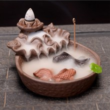 Purple Sand Backflow Incense Burner Ceramic Aromatherapy Furnace Smoke Back Mountain Water Buddhist Home Decoration