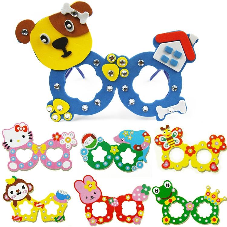 5pcs lot Children DIY EVA glasses sticker toys Kids Child handmade Kindergarten craft learning educational toy