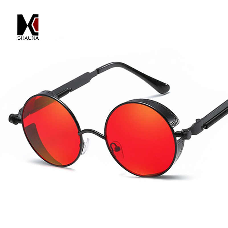 9beaaa6d245cf ... SHAUNA Retro Women Round Steampunk Sunglasses Brand Design Fashion Men  Punk Goggle Sunglasses Mirror Red ...