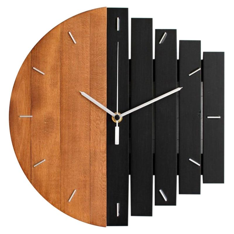 Wooden Wall Clock Modern Design Vintage Rustic Shabby Clock Quiet Art Watch Home Decoration