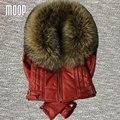 Gola de pele genuína mulheres de pele de cordeiro jaqueta de couro fino casaco curto casaco de inverno parkas veste femme cuir verdadeiro Frete grátis LT107