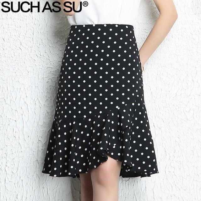 Таких как SU Новый 2018 Повседневное летняя шифоновая юбка женский, черный в горошек с оборками Асимметричная юбка S-3XL женский Высокая талия юбка
