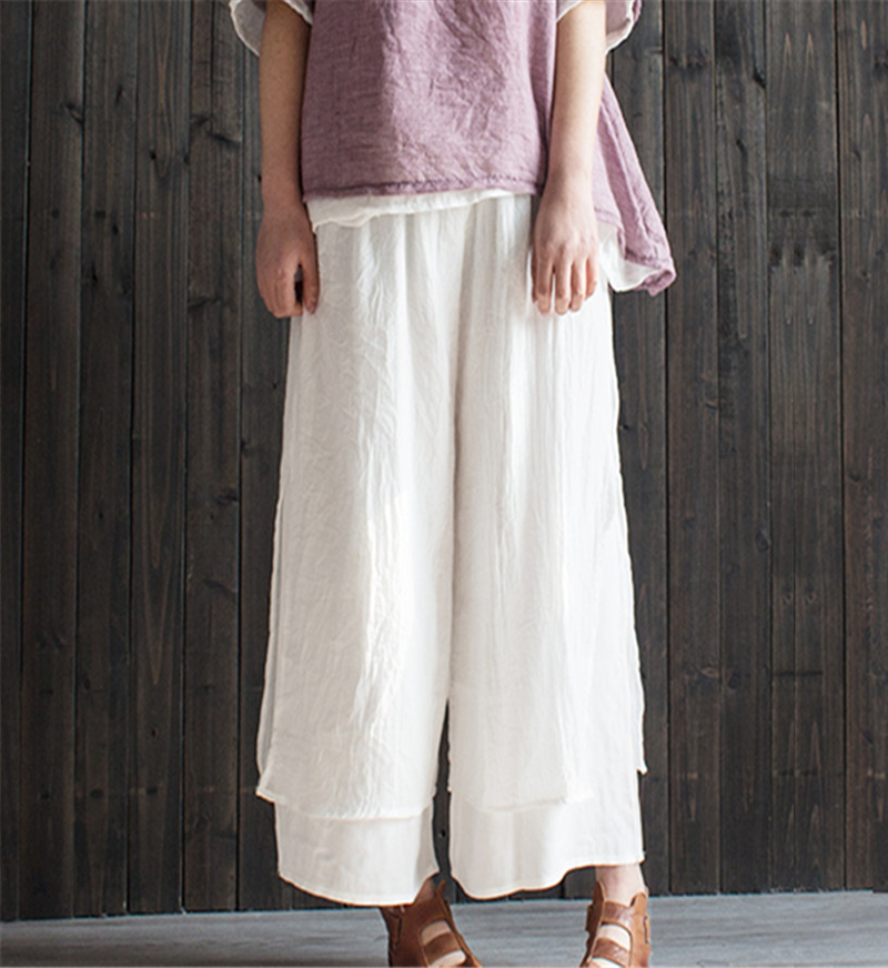 Original Design 2018 Spring Summer New Literary Vintage Elastic Waist Solid Color Double Layer Cotton And Linen Wide Leg Pants 2