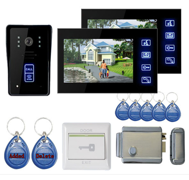 7 Inch 1v2 LCD Monitor Touch Screen Intercom Video Door Phone With Key Tag and Door Lock