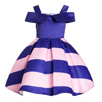 Pluckystar Royal Blue Pink Stripe Dress For Girl Vestidos Infantil 3 9 Years Girls Party Wear