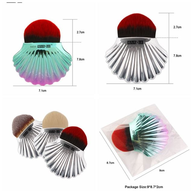 1Pc Colorful Mermaid Color Shell Make up Brush Foundation Concealer Powder Blush Contour Brush Beauty Makeup Portable Tool Makeup Brushes