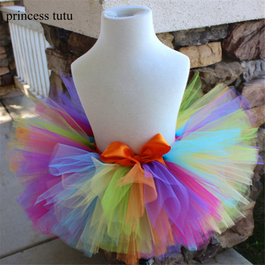 2017 Summer Kid Girls Skirts Princess Style Tutu Pettiskirt Rainbow Tutu Skirts Girl Dance Skirt Baby