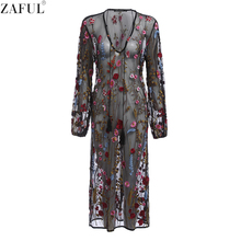 ZAFUL Sexy Women Dress Deep V neck Embroidery Dresses Black Casual Basic Feminino Vestidos Mesh Floral Embroidered Sheer Dress