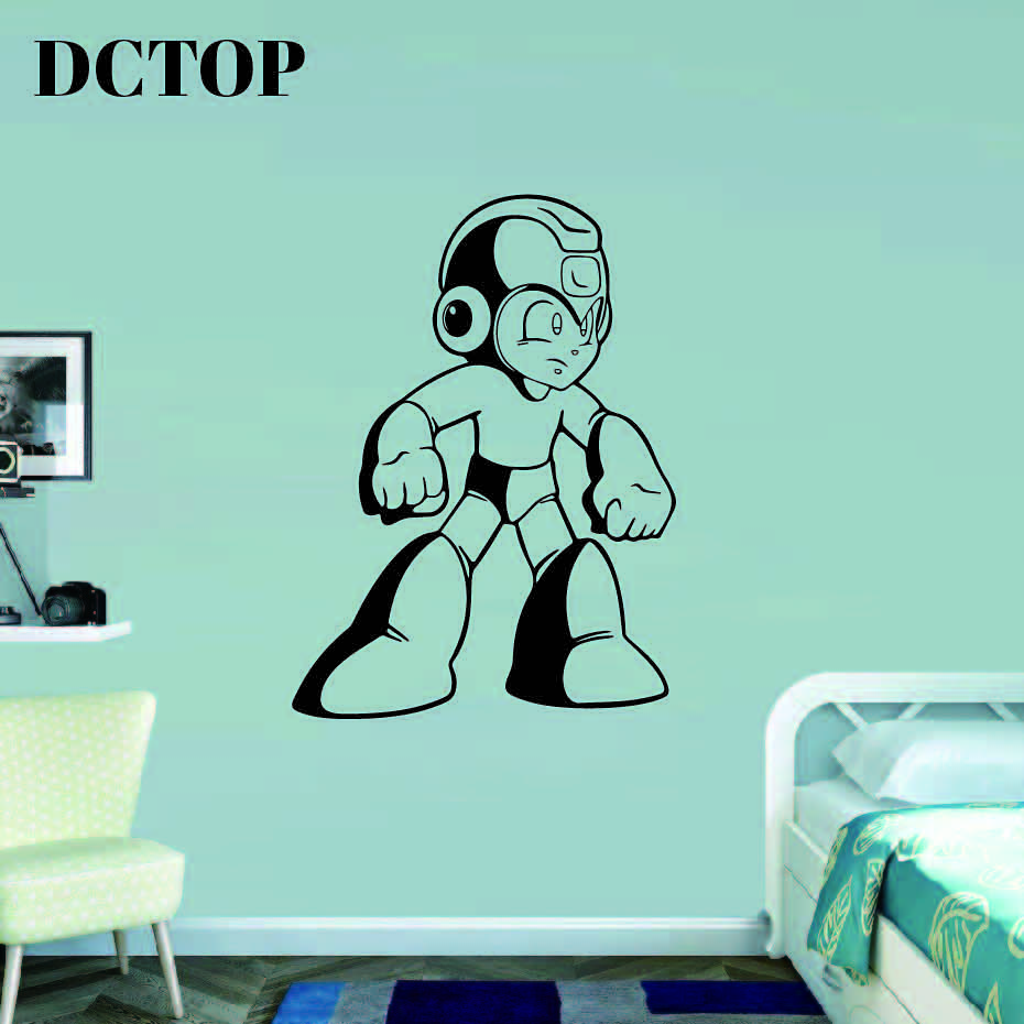 Mega Man Wall Decal Video Game Superhero Wall Vinyl Sticker Retro Games Home Interior Kids Children's Room Decor Removable Mural image