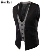 MarKyi 2017 Fashion Fake Two Pieces Mens Double Breasted Waistcoat Good Quality Slim Fit Mens Suit