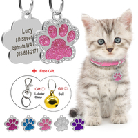 glitter-cat-id-tag-pendant-personalized-kitten-puppy-name-tags-paw-shape-anti-lost-pet-nameplate-bling-rhinestone-free-gift-bell