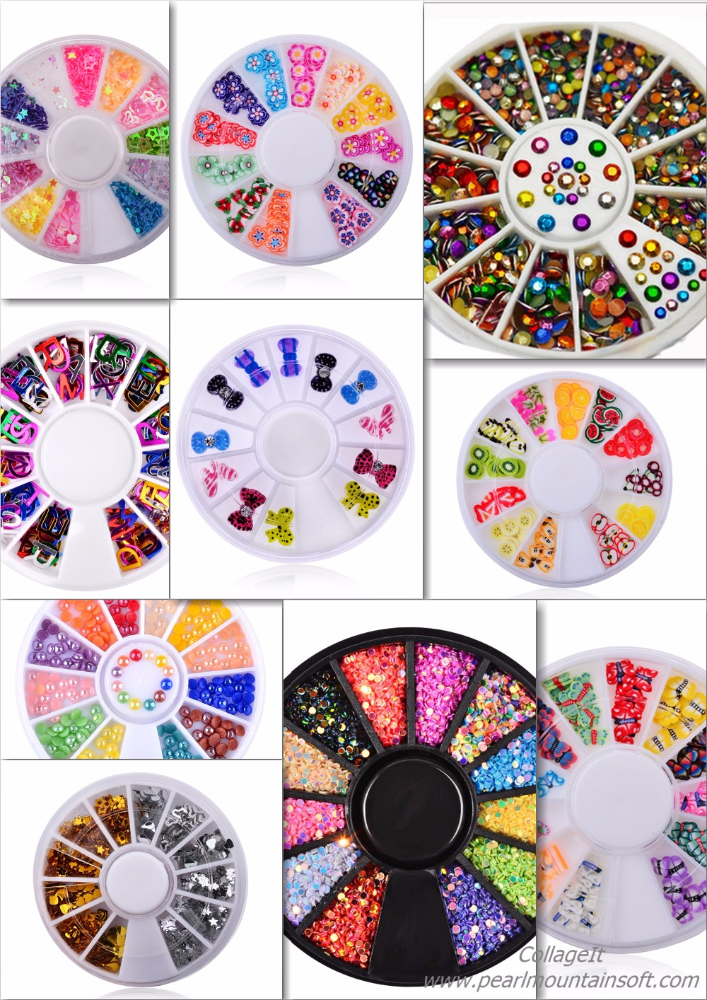3D Cystal Colourful Nail Art Decoration Wheel,Harf Pearl Stone Sequins Nail Art Rhinestones Different shapes Manicure Supplies