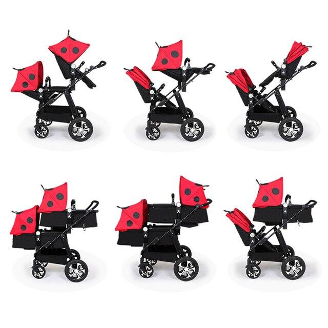 Luxe Dubbele Twins Wandelwagen Voor Pasgeborenen Hoge Landschap Baby Kinderwagens 2 In 1 Travel System Opvouwbare Trolley Lopen Kinderwagen 1