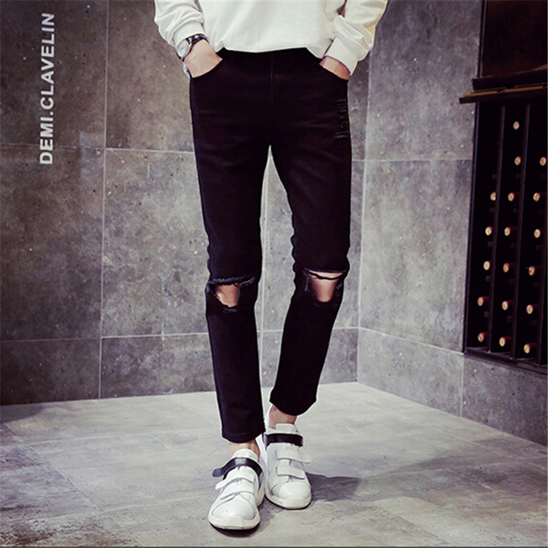 2015 Mens Black Ripped Jeans With On the Holes On the Knee Fashion Men s Distressed