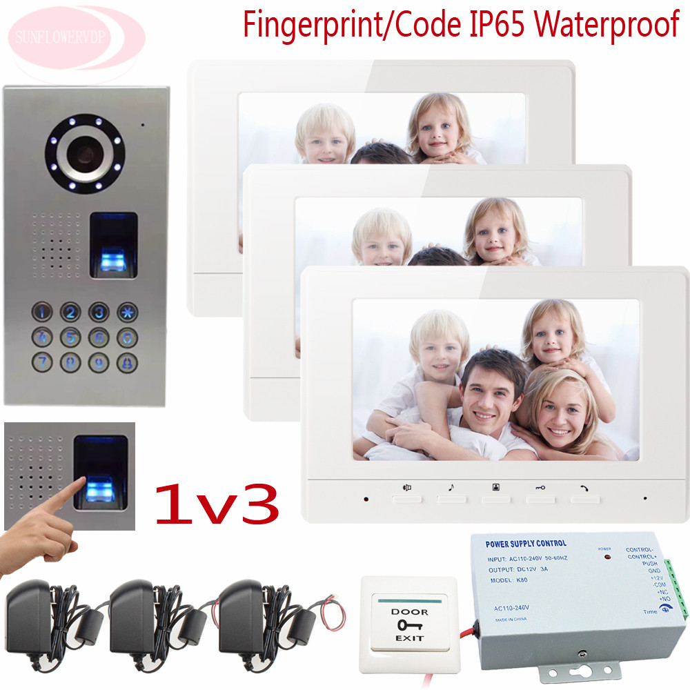 Sunflowervdp Fingerprint Door Phone IP65 Waterproof CCD 700TVL Camera Intercom With Screen 7inch HD Color Images System Unit 1V3