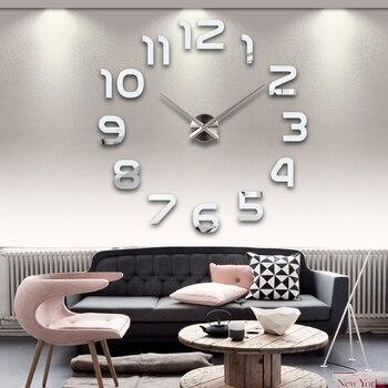 2019 new hot living room wall clock 3d clocks acrylic mirror sticker Needle Modern quartz modern diy mode watch free shipping