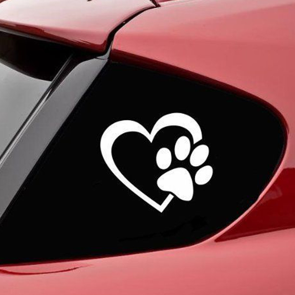 Window Stickers For Cars >> Us 1 12 56 Off Car Sticker Decoration Heart With Dog Paw Puppy Love Decal Window Sticker For Cars Walls May08 In Car Stickers From Automobiles