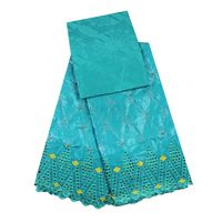 Latest African Blue Brocade Fabric Wholesale Cotton Bazin Riche Getzner With Tulle Lace 3 2yards Tqd