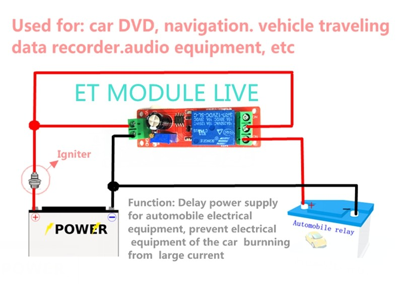 NE555 триггер таймер переключатель модуль задержки подключения регулируемое реле задержки времени DC 12 В 10A 0-10 секунд с светодиодный индикатором