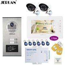 JERUAN 7 inch Video Doorbell Intercom system Kit RFID Access Entry Security Kit For 2 Apartment Camera + 2 CCTV Analog Camera