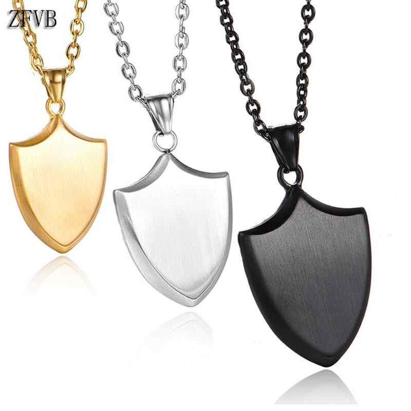 ZFVB Fashion Shield Tag Necklace Women Men's Chain Stainless Steel Chain Triangle Tag Pendant Necklaces Male Jewelry Gift
