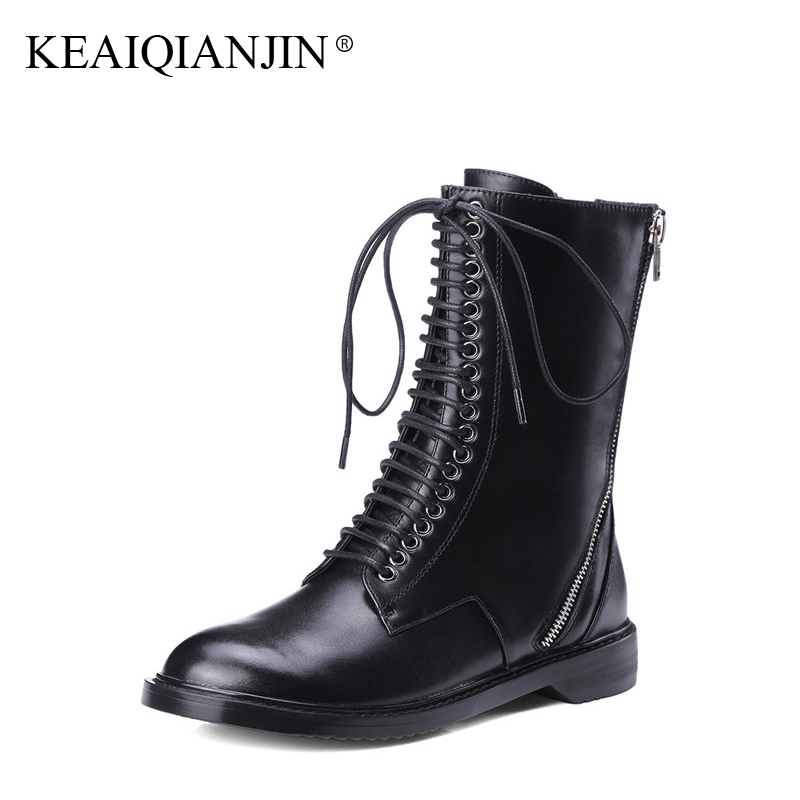 Здесь продается  KEAIQIANJIN Woman Riding Boots Black Autumn Winter Lace Up Ankle Boots Zipper Motorcycle Genuine Leather Martens Boots 2017  Обувь