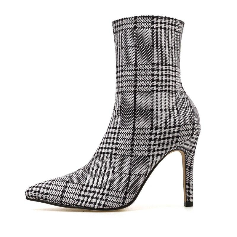 2019 Women 9cm High Heels Fetish Knitting Stripper Knight Boots Chelsea Heels Ankle Plaid Socks Boots Scarpins Stiletto Shoes