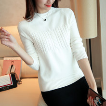 autumn winter knitted Sweater women o neck long sleeved long bottoming pullover Elasticity female pull femme