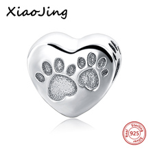 Footprints dog love mom Heart Shape Beads Fit Authentic Pandora Bracelets charms silver 925 original Pendant For Mother's Gifts