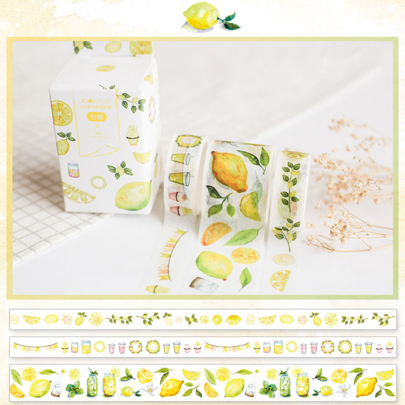 Coloffice 3PCs/Set Yellow Lemon Series Masking Tape Adhesive Tape Sticker Paper Korean Kawaii Scrapbooking Stationery Supplies