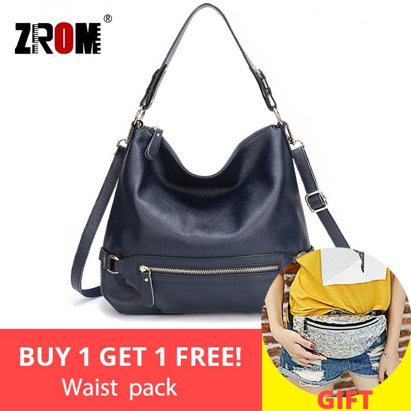 ZROM NEW FASHION Genuine Leather Handbag Classic Zipper Women Hobo Shoulder Bag Charm Ladies Messenger Crossbody
